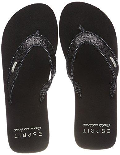 ESPRIT Damen Glitter Thongs Pantoletten, Schwarz (Black), 39 EU