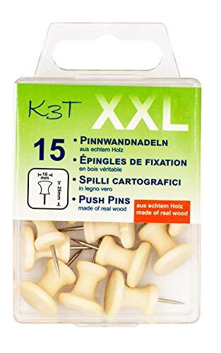 K3T Pinnwandnadeln aus Holz XXL, 15er Packung