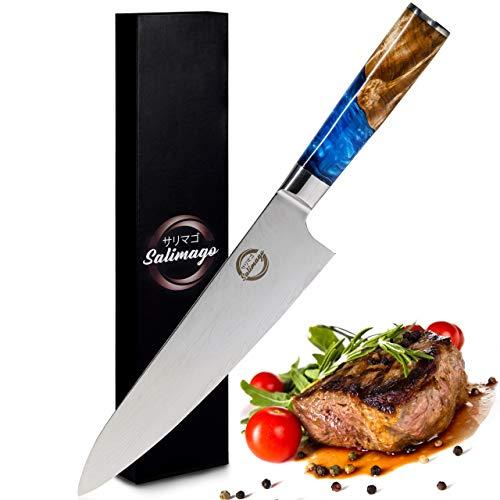 Salimago Cuchillo japonés VG 10 Damascus de acero de 67 capas [cuchillo de carne ultra afilado] 30 cm, cuchillo de cocina profesional de damasco | cuchillo de cocina de alta calidad