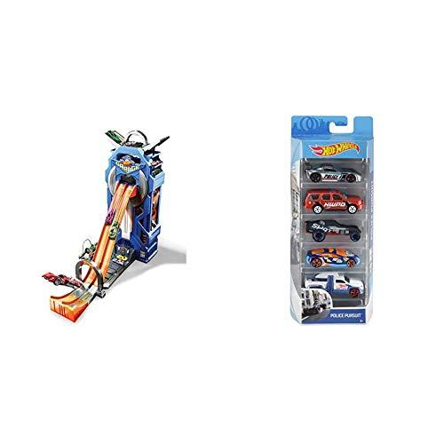 Hot Wheels FTB68 - City Power Parkgarage und Parkhaus für Kinder mit Rennbahn & 01806 5er Pack 1:64 Die-Cast...