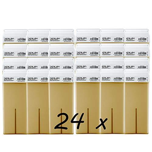 Caja de 24 x Cera Roll On cartuchos de 100ml Miel/Alta calidad/Roll-on Cera para depilación
