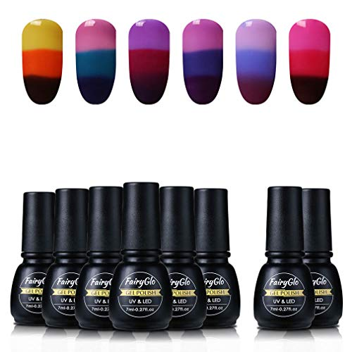 FairyGlo Gel Nail Polish Thermal Colour Change + Base Top UV LED Soak Off Nail Art Starter Kit Nails Salon DIY 6 pcs 7ml 006