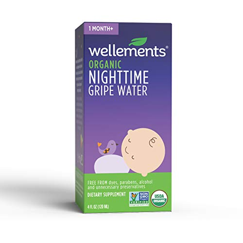 Wellements Organic Nighttime Gripe Water, 4 Fl Oz, Eases Baby's Stomach Discomfort, Free from Dyes, Parabens, Preservatives