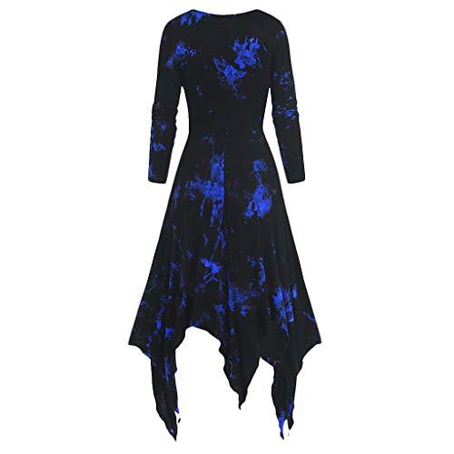 Janly Clearance Sale Vestido de mujer, vestido de mujer, talla grande, estampado de tie-dye de manga larga con cordones para mujer, vestido gótico (Azul-M)