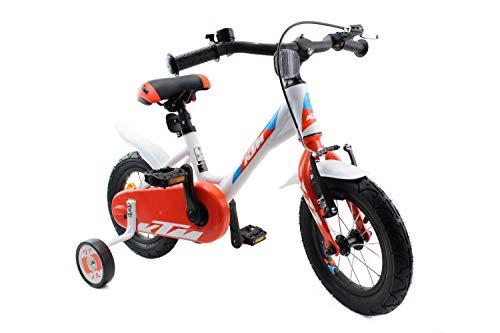 KTM Kinderfahrrad Mädchen Junge 12 Zoll weiß orange blau mit Stützrädern