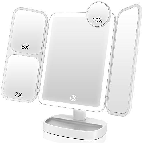 EASEHOLD Kosmetikspiegel mit LED Licht, 10- oder 5-fache Vergrößerung Schminkspiegel, 180°drehbar, Tageslicht LED Standspiegel für Makeup und Rasieren