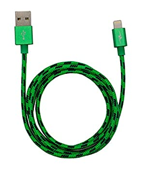 ZipKord iPhone Lightning Cable- Apple Mfi Certified Sync & Charge Cable for iPhone SE/XS/XR/X/8/7 iPad Pro/Air and More - 3ft Braided Green/Black