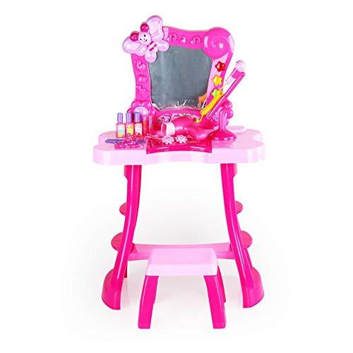 Ryyland-Home Schminktische für Kinder Simulation Play House Dresser Princess-Baby-Musik-Mikrofon-Set-Kind-Spielzeug for Kinder Dresser Spielzeug (Color : Pink, Size : 50x10x71cm)