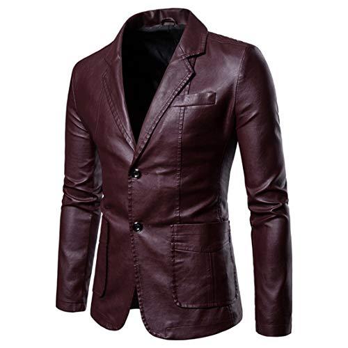 NLZQ Chaqueta de piel para hombre de estilo motero, de doble botn, piel de vacuno autntica, estilo vintage, con bolsillos B-rojo. XXL