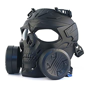 M10 Full Face Airsoft Tactical Protective Gas Mask,Toxic Gas Mask Safety Eye Protection Skull Dummy Game Mask with Adjustable Strap for BB Gun CS Paintball Cosplay Costume Halloween Masquerade