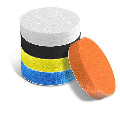 Rishng almohadillas de pulido, paquete de 5 almohadillas de esponja de pulido compuestas para pulidor de coche pulido encerado (multicolor, 5 pulgadas)