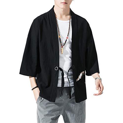 Verano Cloak Cárdigan Kimono Japón Capa para Hombres Mujeres Kimono Jacket Casual Chinese Style,Negro,3XL