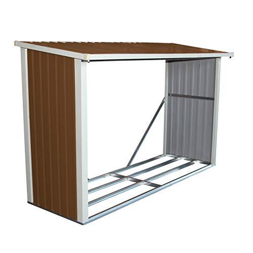 Charles Bentley Metal Log Wood Store Shed - L242 x D89 x H148 (8x3ft)