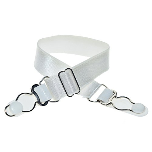 DoHope Stocking Clip Garter Straps Adjustable Suspender Accessories for Hosiery (2 Pairs, White with 2 Garter Buckle)