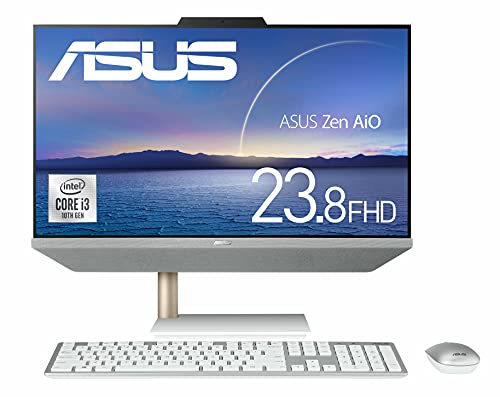 ASUS ZenAiO 24 A5401W Integrated PC (23.8 inch / Core i3-10100T / 8 GB / SSD 512 GB (PCIE 3.0 x 2) / 1,920 x 1,080 (Full HD) / Webcam/Wireless Keyboard & Mouse Included, WPS Office Product in Japan 401W-I 310100EC White