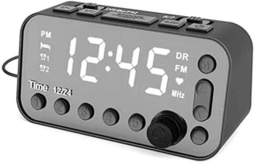 WOUTE Reloj Despertador, Reloj Despertador Multifuncional Radio FM Dab con Pantalla LED e interfaces USB duales