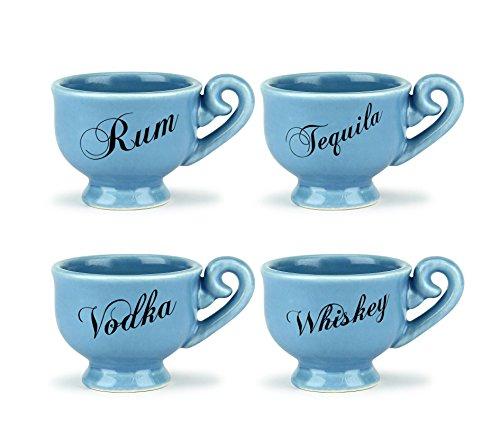 Thumbs Up BBZTSHTGLS Verres à Liqueur Tea Party (Set de 4), Céramique, Bleu, 1 x 1 x 1 cm