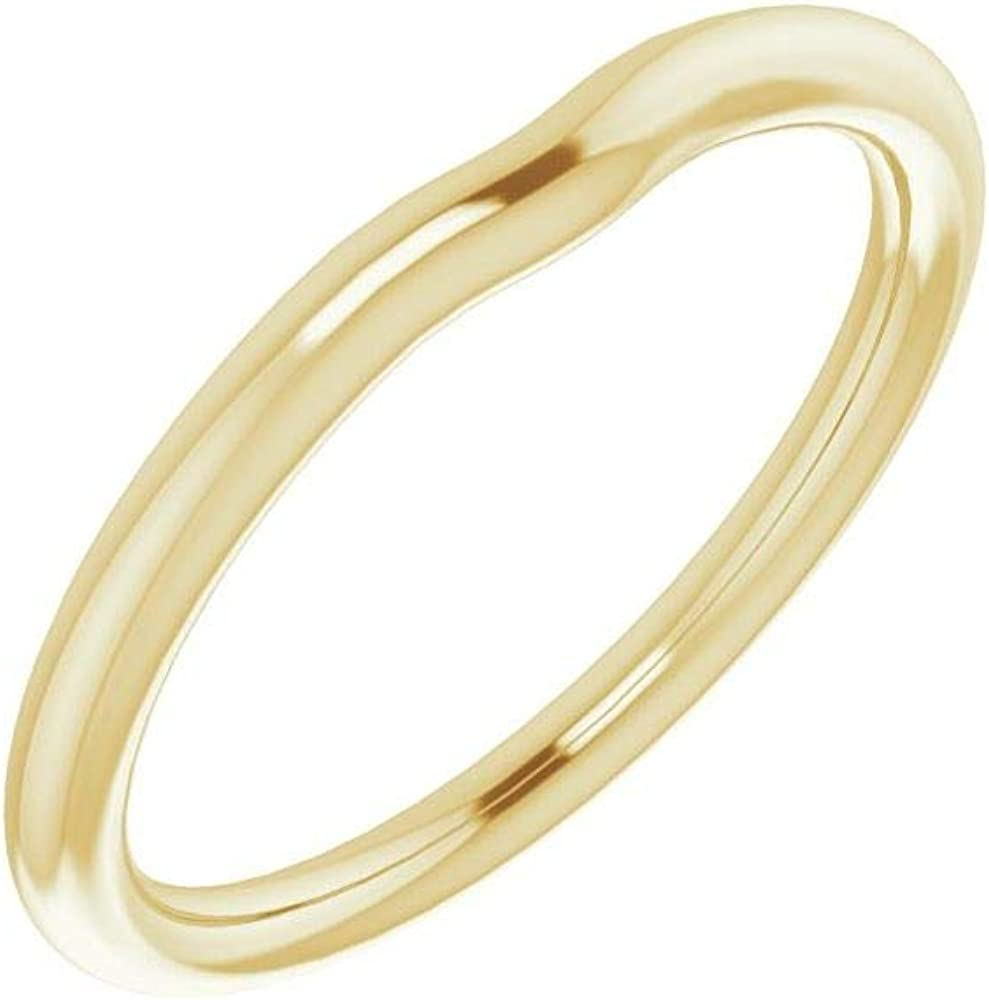 Solid 10K Yellow Gold Curved Notched Wedding Band for 7 x 7mm Asscher Ring Guard Enhancer - Size 7