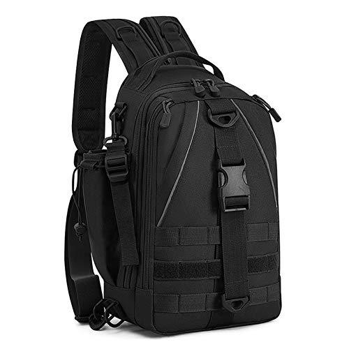 BAIGIO Militär Sling Rucksack Molle Brusttasche Umhängetasche Taktisch Rucksack Angeln Tasche für Trekking Camping Wandern Reisen Angeln (Schwarz)