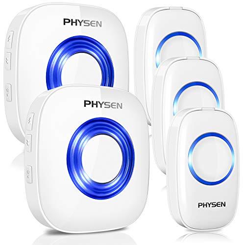 PHYSEN ワイヤレスチャイム PHYSEN 呼び出しチャイムセット 最高300Mの無線範囲 呼出音楽52メロディー選択可 ドアベル 呼び鈴玄関 モデルCW 受信機2個 押しボタン送信機3個