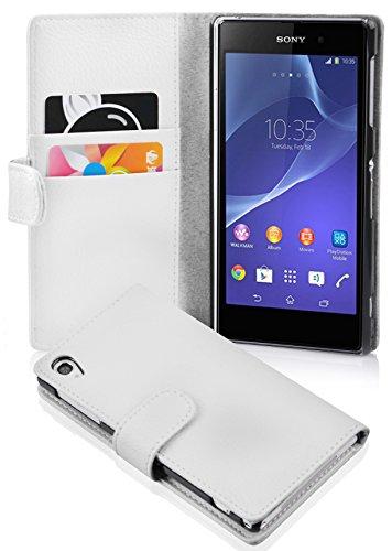 Cadorabo Hülle für Sony Xperia Z2 in Magnesium WEIß – Handyhülle aus Strukturiertem Kunstleder mit Standfunktion & Kartenfach – Hülle Cover Schutzhülle Etui Tasche Book Klapp Style
