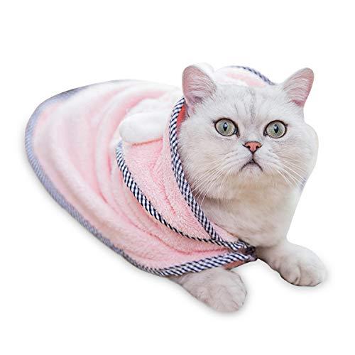 PETCUTE バスローブ ペット用 犬バスタオル 犬バスローブ 猫 吸水速乾 風呂上り バスポンチョ マイクロファイバー ふわふわ 可愛い ピンク L