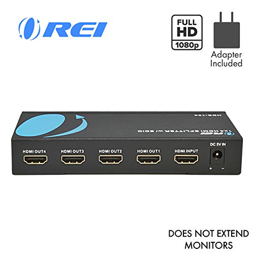 Best Prices! 4K 1x4 HDMI Splitter 1 in 4 Out by OREI - Ultra HD @ 30 Hz 1x4 Ver. 1.4 HDCP, Power HDM...