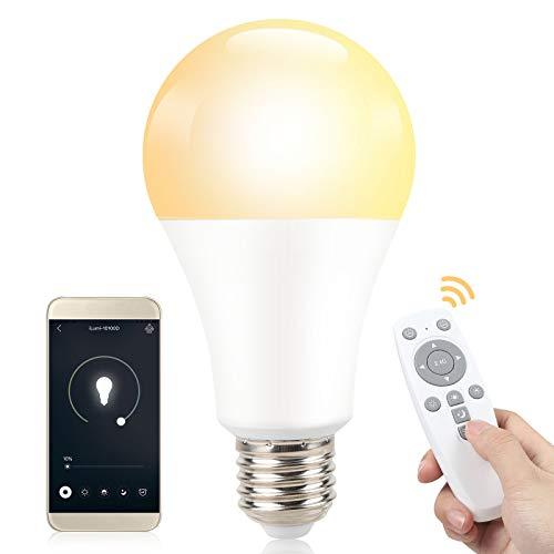 SINJIA LED Lampe Glühbirne14W (ersetzt 100W)E27 LED Lampe smarte Dimmbar Glühlampe,Kaltweiß,Warmes Gelb,mittleres Weiß,Steuerbar via App, mit Fernbedienung[Energieklasse A++]