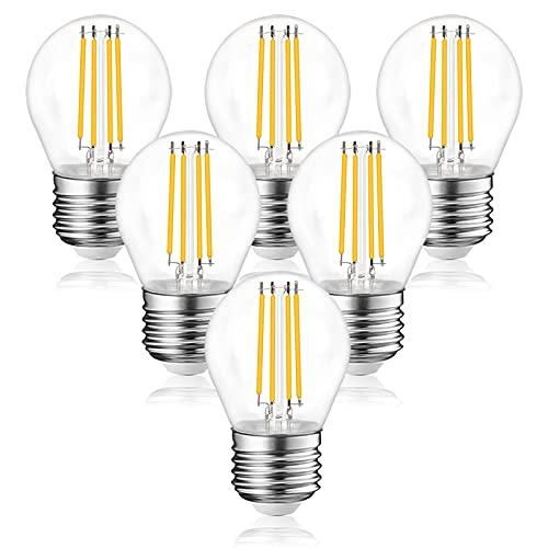 Bonlux Bombilla LED con filamento, E27, 4 W, bombilla LED Edison G45, 350 lúmenes, equivalente a bombilla de filamento de 40 W, 6000 K, luz diurna, paquete de 6 (4 W)