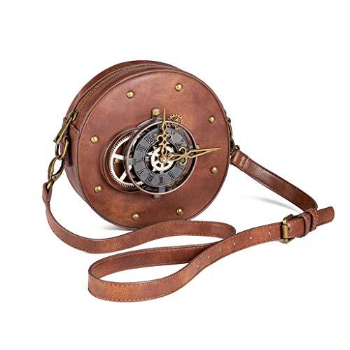 XINGYUE Reloj de mano, moda steampunk cadena bolsa redonda vintage reloj dinero embrague mujeres bolsos de hombro diario señoras casual bolso de moda accesorios de personalidad