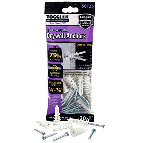 TOGGLER SnapSkru Self-Drilling Drywall Anchor, Pack of 20