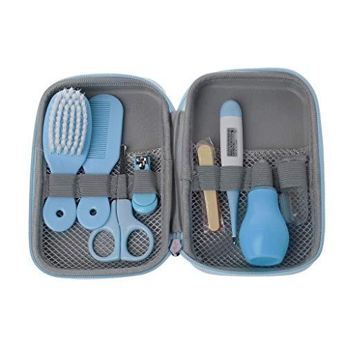 Mentin Baby Pflegeset | 8-teiliges Baby Pflege Produkte | Baby Pflegeset Erstausstattung | Nagel und Nasen Pflege mit Tasche mit Handtasche Geeignet für Reisen Oder im Freien (Blau)