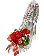 プリザーブドフラワー ギフト ガラスの靴 ハイヒール シンデレラ