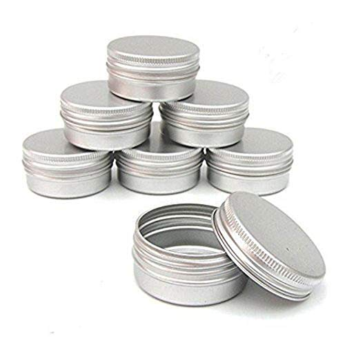 CTKcom 1-Ounce Metal Tins Screw Top Flat Aluminum Silver Slide Round Tin Containers For Lip Balm,Crafts,Cosmetic,Candles,Travel Storage Kit (Pack of 10)