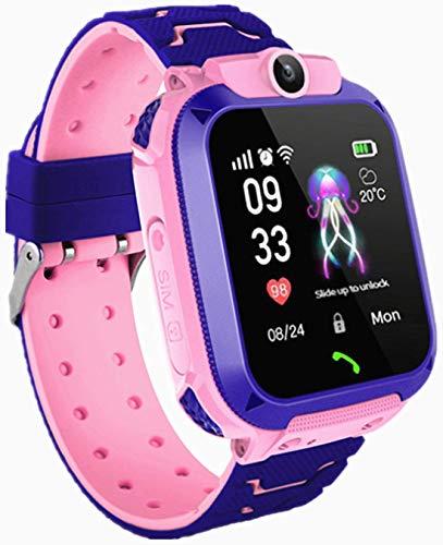 Smartwatch per bambini, IP67, impermeabile, GPS anti-perso, smart phone con chat vocale, sveglia SOS, orologio intelligente per studenti per giochi di matematica, regali per ragazzi e ragazze (Rosa)
