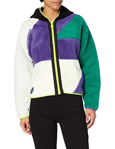 Superdry Womens Sportstyle NRG Sherpa Zip Cardigan Sweater, Cream/Lapis, 14