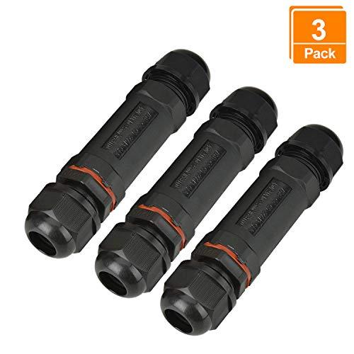 Willingood Kabelverbinder, 3er-Pack, wasserdicht IP68, Verbindungsbox, Verbindungsmuffe für Ø1-13 mm Kabeldurchmesser, Schwarz