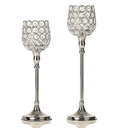 VINCIGANT Silber Kristall Kerzenhalter Laternen Dekorative für Haus Dekoration Geburtstag Geschenk Hochzeit Feier,33cm&38cm Höhe
