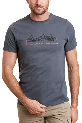 Mountain Warehouse Tee-Shirt Tri Linear pour Homme - T-Shirt léger et Confortable - Tee-Shirt Facile d'Entretien - Idéal pour Les Voyages, la randonnée et Le Plein air Gris foncé 3XL