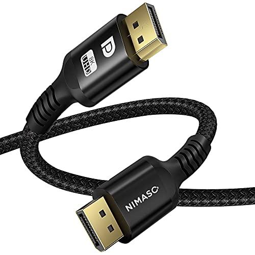 NIMASO 8K DisplayPort Kabel 2M DP 1.4 Kabel (8K@60Hz, 4K@144Hz, 2K@240Hz, HDR)DP Kabel, DP zu DP Kabel Nylon Geflecht Ultra Highspeed für Laptop,Gaming-Monitor,FreeSync,G-Sync,PC,TV,Beamer,Grafikkarte