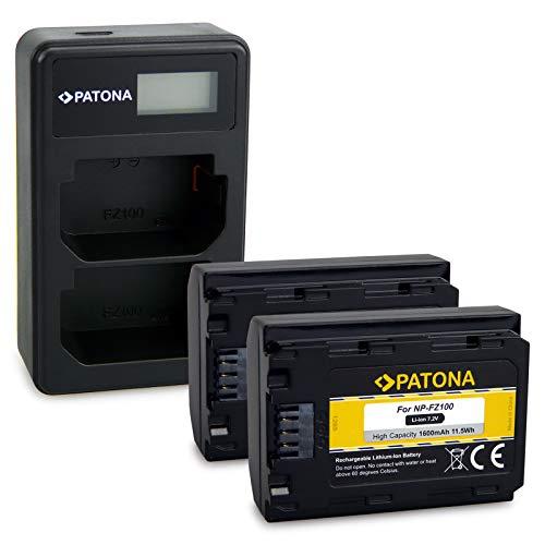 PATONA Cargador Doble LCD USB con 2X NP-FZ100 Batería Compatible con Sony Alpha 9, 9II, 7RM3, 7RM4, A7 RIII, A7 RIV