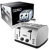OZAVO Toaster 4 Scheiben, Brötchenaufsatz, 7 Bräunungsstufen, Zentrierfunktion, mit Abnehmbarer Krümelschublade, Edelstahlgehäuse, 1500W - 8