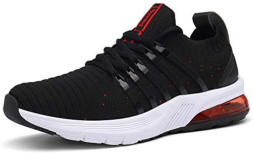 AARDIMI Herren Damen Sportschuhe Laufschuhe mit Luftpolster Turnschuhe Straßenlaufschuhe Sneaker Outdoor Fitness Gym Walkingschuhe Leichte Schuhe (Schwarz, Numeric_46)