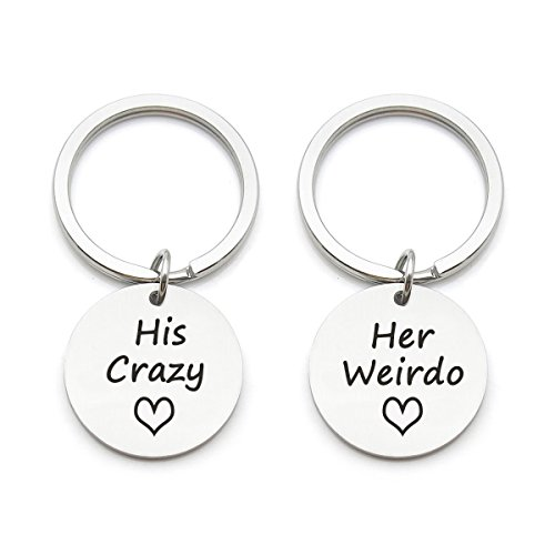 2pcs Couples Keychain Gift- His Crazy Her Weirdo, Best Gift for Boyfriend Girlfriend Husband Wife Couples Christmas