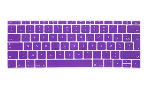 Protector de teclado de silicona para MacBook Pro de 13 pulgadas A1708 (versión 2016, no Touch Bar) para 12 pulgadas A1534 Retina para protección de teclado (color: púrpura)