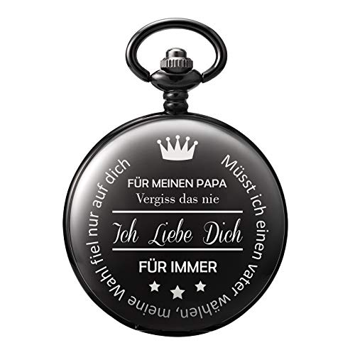 TREEWETO Taschenuhr mit Gravur Kette Herren Schwarz Geschenk zum Geburtstag Vatertag Vater