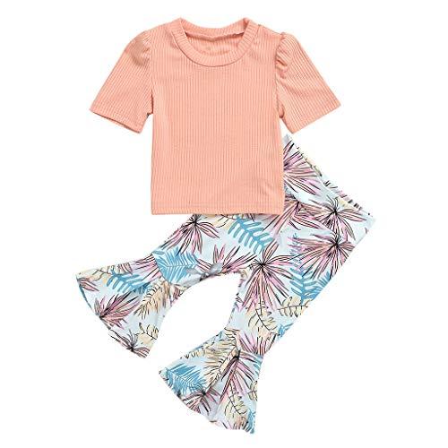 VEFSU Toddler Baby Girls Solid Color Ribbed O-Neck Short Sleeve Tops Floral Printed Bell-Bottom Pants for Infant Girls Pink 100