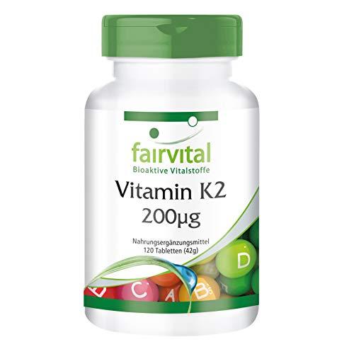 Vitamin K2 MK-7 200µg - HOCHDOSIERT - Menaquinon MK-7 - natürlich & fermentiert aus Natto - VEGAN - 120 Tabletten