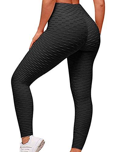 Jenkoon Women's High Waist Butt Lifting Leggings Stretch Workout Running Textured Tights (Black, XX-Large)