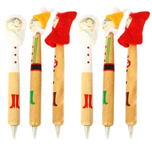 Amosfun 6 bolígrafos de gel con forma de bola de Navidad con forma de ángel, para regalos de Navidad